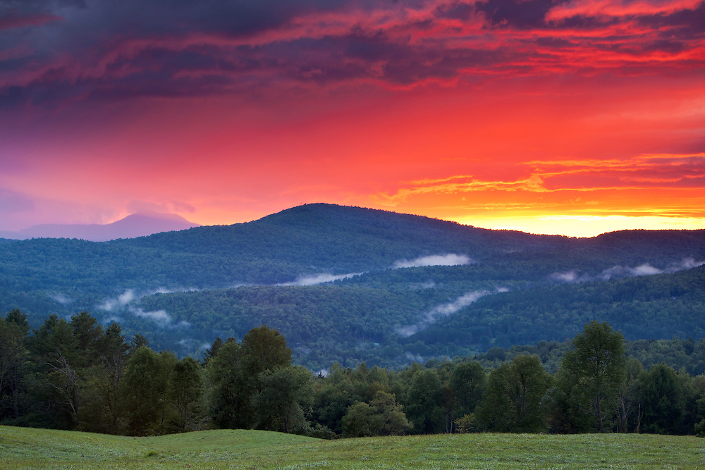 beautiful sunset clouds over the northern green mountains, East Montpelier, Vermont