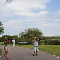 Volunteers counting hawks at Hazel Bazemore Park outside Corpus Christi, Texas.
