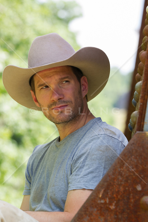 rugged handsome cowboy outdoors