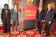 Wells Fargo VIP's included Anika R. Khan, Vice President and Economist (1st from left) and Joe Kirk, Regional President for Wells Fargo New York and Connecticut (4th from left) ,at the Manhattan Chamber of Commerce Annual 2011 Economic Outlook Breakfast. The breakfast was held at the New York Athletic Club on April 4, 2011 and sponsored by Wells Fargo.