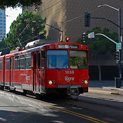 The trolley rolls through downtown San Diego. Photography by Dallas commercial photographer William Morton of Morton Visuals.