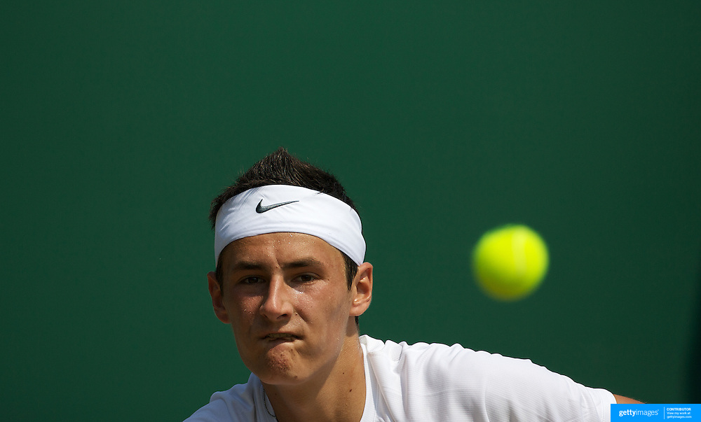 Bernard Tomic, Australia, in action against Dominik Schutz, Germany in the Boy's Singles Competition at the All England Lawn Tennis Championships at Wimbledon, London, England on Thursday, July 02, 2009. Photo Tim Clayton.