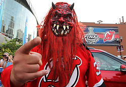 May 30; Newark, NJ, USA; A New Jersey Devils fan before the 2012 Stanley Cup Finals Game 1 at the Prudential Center.  The Kings defeated the Devils 2-1.
