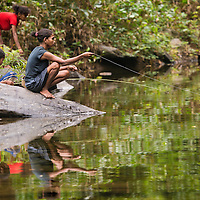 Members of the Batak tribe fishing in Palawan, the Philippines