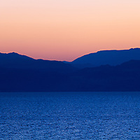 The Mountains of Moab a few minutes before sunrise, as seen from the Israeli Dead Sea coast.