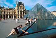 FRANCE, PARIS, CITY CENTER The Louvre Museum and I. M. Pei glass pyramid in the grand courtyard