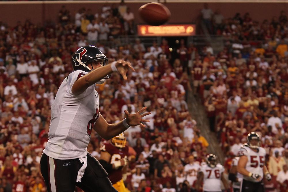 Landover, Md., Sept. 19, 2010 - Washington Redskins vs. Houston Texans - Matt Schaub passes in OT.