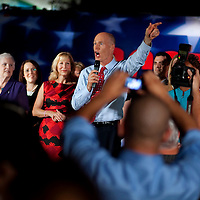 TAMPA, FL -- October 25, 2010 -- Republican candidate for governor Rick Scott greet ssupporters at a post-debate rally in Tampa, Fla., on Monday, September 25, 2010.  Scott was kicking off his final week of campaigning in the heated race for Florida Governor against Democrat Alex Sink.