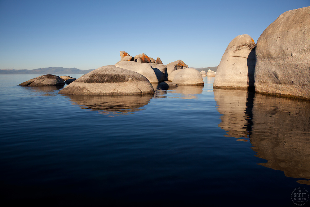 """Boulders at Lake Tahoe 5"" - These boulders were photographed from a kayak early in the morning at Lake Tahoe, near Speed Boat Beach."
