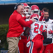 Stony Brook Co-Offensive Coordinator CARMEN FELUS celebrates a WOODS recovers the 55yard fumble return during a week eight game between the Delaware Blue Hens and the Stony Brook Seawolves, Saturday, Oct. 22, 2016 at Tubby Raymond Field at Delaware Stadium in Newark, DE.