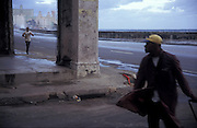Windy morning on Malecon, embankment in Habana, Cuba