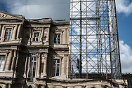 France. Paris. 1st district. Louvre museum   , mirror set up in the Cour carree