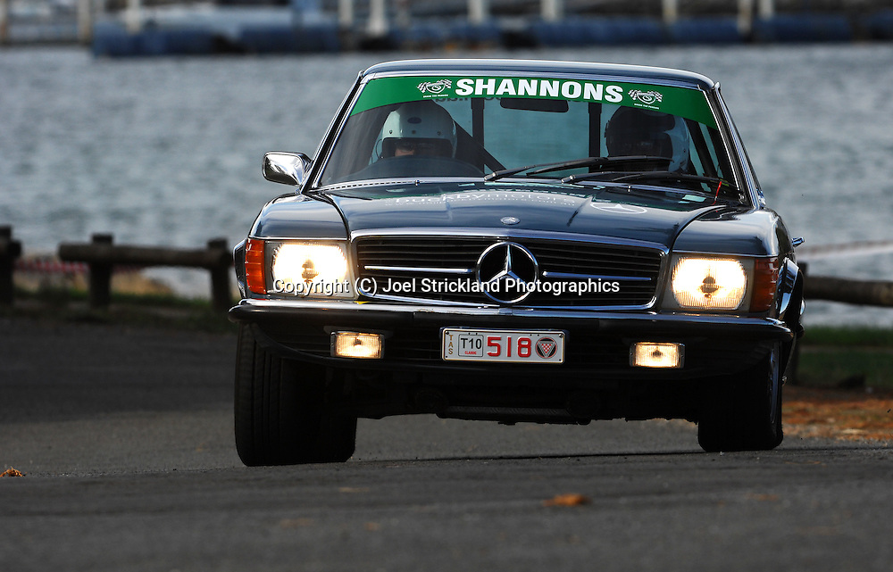 #518 - Simon Finlay & Michael Ryalls - 1975 Mercedes Benz 350 SLC.Prologue.George Town.Targa Tasmania 2010.27th of April 2010.(C) Joel Strickland Photographics.Use information: This image is intended for Editorial use only (e.g. news or commentary, print or electronic). Any commercial or promotional use requires additional clearance.