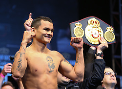 """LAS VEGAS, NV - MAY 2: Marcos Maidana weighs in for his WBA/WBC welterweight championship fight against Floyd """"Money"""" Mayweather Jr. at the MGM Grand Garden Arena on May 2, 2014 in Las Vegas, Nevada. (Photo by Ed Mulholland/Golden Boy/Golden Boy via Getty Images) *** Local Caption ***Floyd Mayweather; Marcos Maidana"""