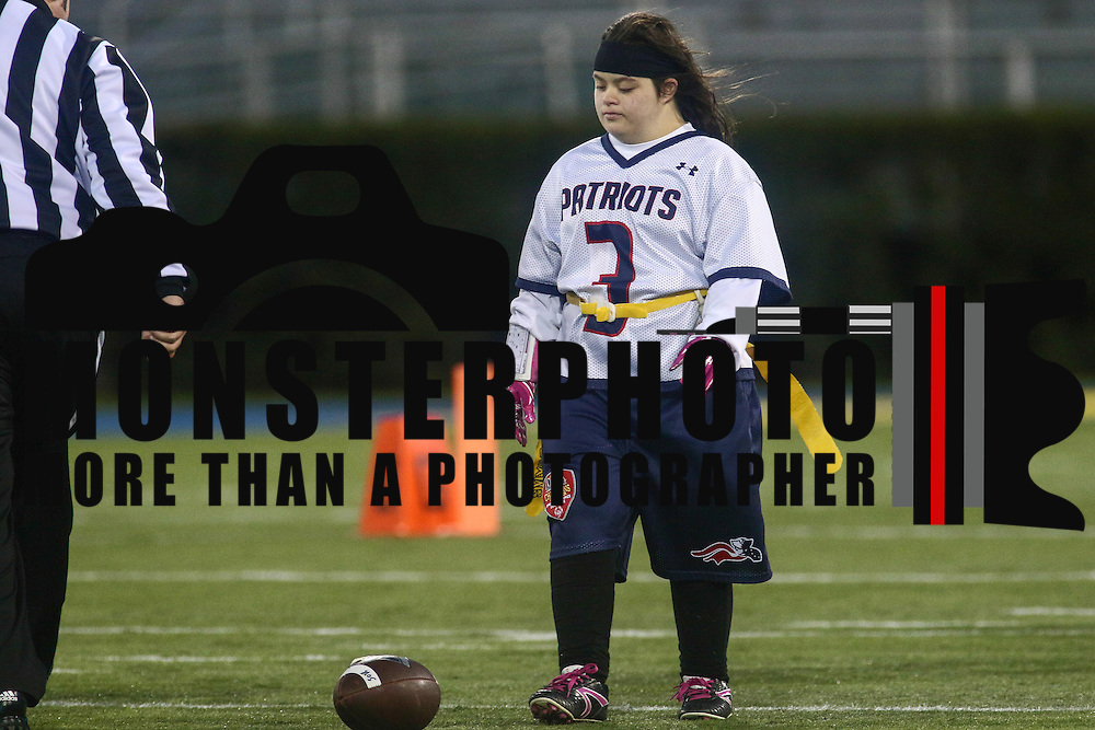 Hannah Tressler on the field Special Olympics DIAA Unified Flag Football Championship game, Newark Charter defeated McKean 35-28 Saturday, Dec. 03, 2016 at Delaware Stadium in Newark.