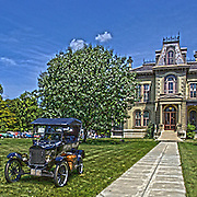 An antique vintage Ford sits on the lawn of the David Davis Mansion in Bloomington Illinois.<br />