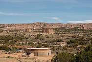 North of Abiquiu, New Mexico, round adobe house being built
