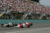 Tony Kanaan, Helio Castroneves and Sam Hornish Jr. at the Homestead-Miami Speedway, Toyota Indy 300, March 6, 2005