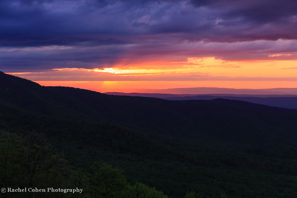 &quot;As Night Falls on the Ridges&quot;<br /> <br /> Tranquil beauty as the sun sets over the Blue Ridge Mountains of Virginia!!<br /> <br /> The Blue Ridge Mountains by Rachel Cohen