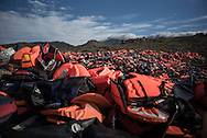 Thousand of life jacket are accuulated in a landfill. FEDERICO SCOPPA/CAPTA