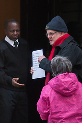 London, February 24th 2015. Learning-disabled villagers and their co-workers from Action for Botton deliver a petition of over 3,000 signaturees to 10 Downing Street appealing for the Prime Minister's support in ensuring that the charity Camphill Village Trust does not evict their live-in co-workers, creating forced segregation.