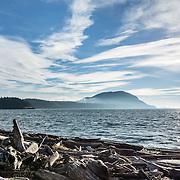 Clouds streak across blue sky over a driftwood beach near Village Point on Legoe Bay, Lummi Island, in the Salish Sea, Whatcom County, Washington, USA.