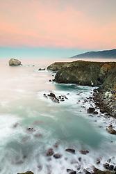"""Dawn at Plaskett Rock 3"" - Long exposure photograph taken at dawn at Big Sur, California. Plaskett Rock can be seen in the distance."