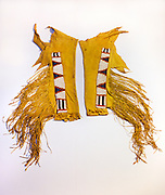 0193-1011 ~ Copyright:  George H. H. Huey ~ Historic Jicarilla Apache Indian leather leggings with beadwork.  Circa 1880's, New Mexico,