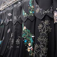 Naif Souq, a small covered market popular with Emirati woman buying copy designer Dior shaylas y abayas. Deira. Dubai.<br />