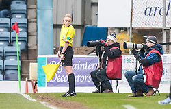 Assistant referee Kylie McMullan checks out Mr Williamson's shoes.<br /> Dundee 0 v 1 Falkirk, Scottish Championship game played today at Dundee's Dens Park.<br /> &copy; Michael Schofield.