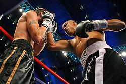 June 2, 2007; Atlantic City, NJ, USA;  Giovanni Lorenzo (black/white trunks) defeats Bruce Rumbloz via 3rd round TKO at Boardwalk Hall in Atlantic City, NJ.
