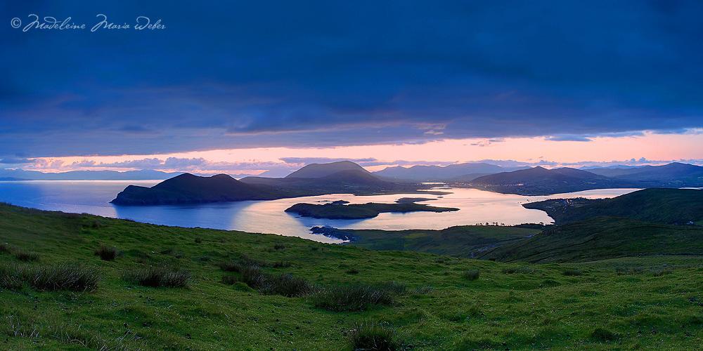 Coastal Panoramic Sunrise View from Geokaun overlooking Cahersiveen, Begenish Island Valentia Lighthouse and Knock na d'Tobar Iveragh Peninsula Ring of Kerry Ireland / vl115
