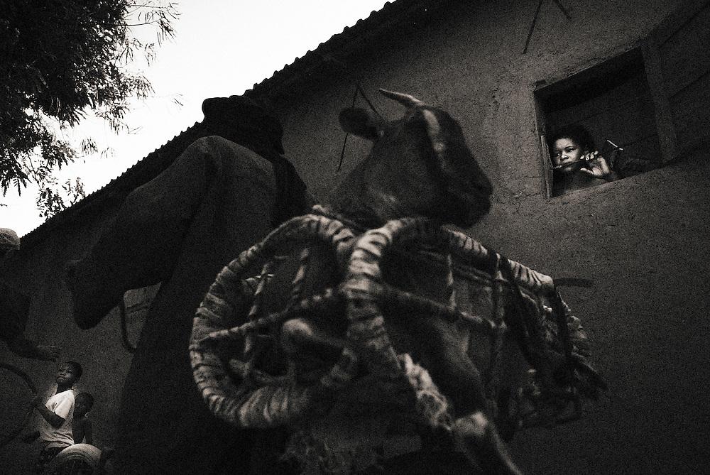 Griot village near kangaba in Mali, bike and goat..
