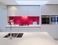 kitchen units with red splash back, sink, tap, cooker and roof light
