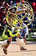Division champion Brian Hamell, Phoenix, AZ, performs his winning dance in the Senior division (age 40+) finals at the 21st Annual Heard Museum World Hoop Dance Championship on February 6, 2011, in Phoenix, Arizona.