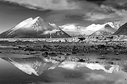 Mountains reflected in the lagoon at Lon, south-east Iceland