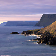 Cliffs and coast of the Latrabjarg Peninsula on the Denmark Strait, Westfjords of Iceland, Europe