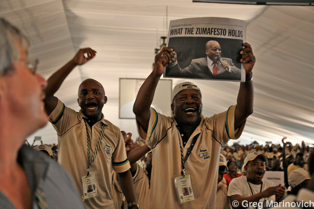 POLOKWANE, SOUTH AFRICA DEC 16, 2007: Delegates gave Jacob Zuma a wild reception at the conference to choose a new National Executive Committee - and the two presidential candidates - President Thabo Mbeki and Deputy President Jacob Zuma -   of the ruling African National Congress (ANC) campaign in Polokwane, Limpopo province, South Africa. Photo Greg Marinovich / Bloomberg News