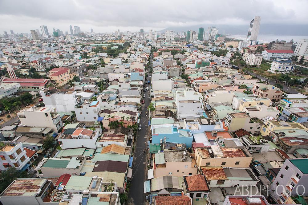 Cityscape view over Danang (Da Nang) city and beach in Vietnam