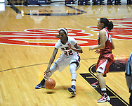 Ole Miss's Danielle McCray (22) vs. Arkansas' Jhasmin Bowen (42) in a women's college basketball game in Oxford, Miss. on Thursday, January 31, 2013. Arkansas won 77-66.