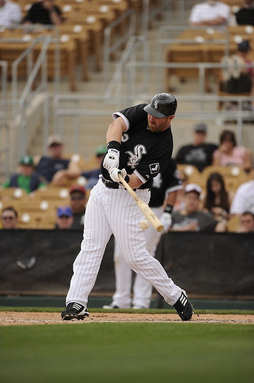 GLENDALE, AZ - MARCH 01:  Adam Dunn #32 of the Chicago White Sox bats against the Milwaukee Brewers on March 01, 2011 at The Ballpark at Camelback Ranch in Glendale, Arizona. The Brewers defeated the White Sox 3-1.  (Photo by Ron Vesely)