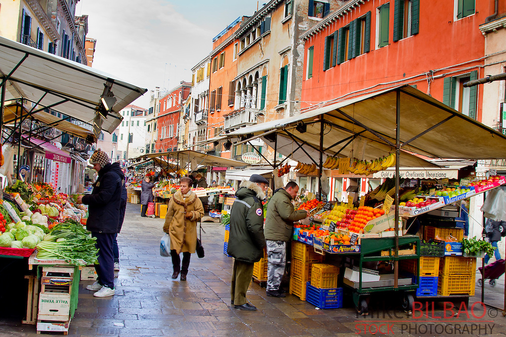 Fruit market. Colori street. Venice, Italy.