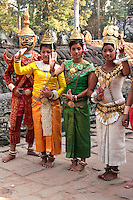 "Apsara Dancers at Bayon - Khmer classical dance is often called ""Apsara Dance"" coming from the notion that Khmer classical dance is connected to dances practiced in the courts of the Angkor monarchs, which got their inspiration from  mythological court gods and from its celestial Apsara dancers."