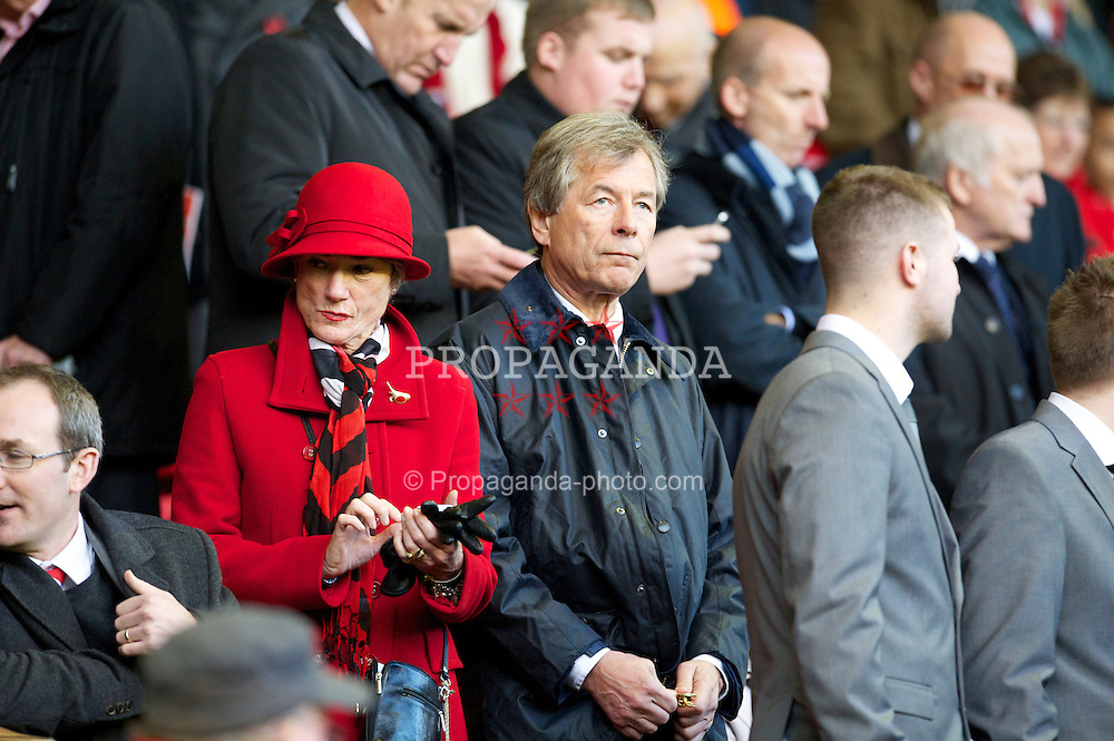 LIVERPOOL, ENGLAND - Sunday, November 4, 2012: Former British Airways and Liverpool FC chairman Martin Broughton and his wife during the Premiership match against Newcastle United at Anfield. (Pic by David Rawcliffe/Propaganda)