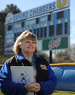 Sarah Lacy is the longtime scorekeeper for Oxford High School sports, photographed in Oxford, Miss. on Wednesday, February 24, 2010 at Edwin Moak Field at Oxford High.