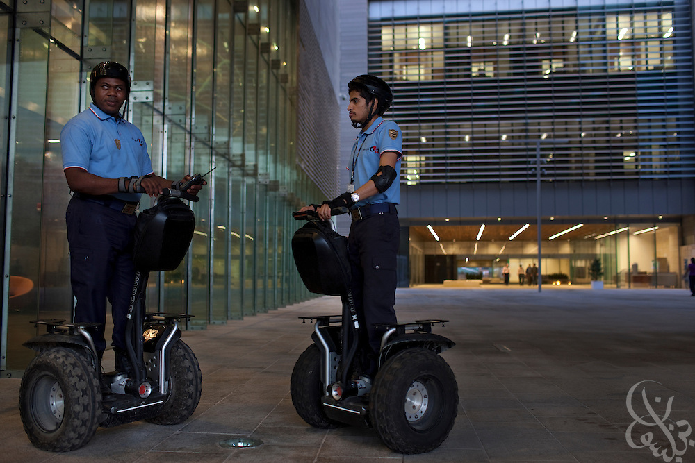 Security guards on all terrain versions of Segway patrol the King Abdullah University of Science and Technology (KAUST) campus. KAUST is an international, graduate-level research university dedicated to inspiring a new age of scientific achievement in the Kingdom that will also benefit the region and the world. (Photo by Scott Nelson)