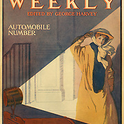 Harper's Weekly March 1907 Automobile Issue Cover woman in headlights