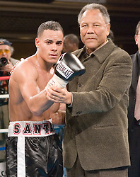 March 9, 2006 - New York, NY - Edgar Santana (l) poses with Jose Torres (r) after his 10 round fight against Francisco Campos at the Manhattan Center in New York City.  Santana won the bout via 7th round TKO.