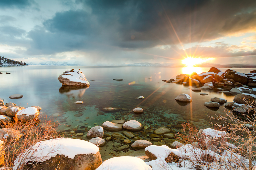 """Bonsai Rock Sunset 7"" - Sunset photograph of the famous Bonsai Rock, coated in snow at Lake Tahoe."
