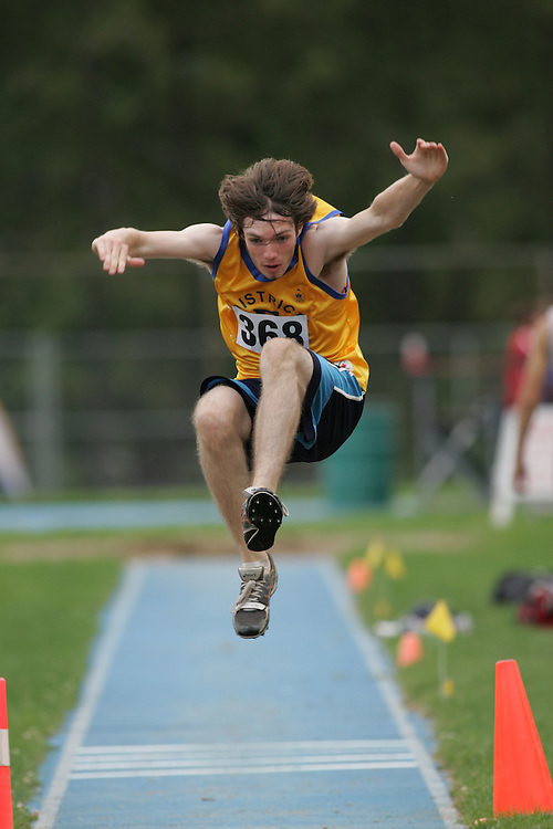 Jordan Rainey competing in the long jump at the 2007 Ontario Legion Track and Field Championships. The event was held in Ottawa on July 20 and 21.